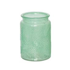 Recycled Style & Coloured Vases - Glass Leaf Pattern Cylinder Tropical Green (9.5x13.5cmH)