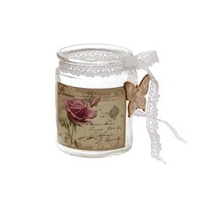 Glass Jar Butterfly Deco with Lace Ribbon lear (8Dx10cmH)
