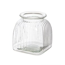 Glass Vertical Stripes Square Vase Small Clear (15.5Dx17cmH)