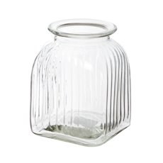 Glass Vertical Stripes Square Vase Medium Clear (16Dx20cmH)