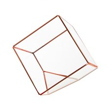Geometric Glass Terrarium Cube Copper (15x15x15cm)