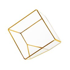Geometric Glass Terrarium Cube Gold (15x15x15cm)