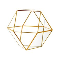 Geometric Glass Terrarium Large Gold (26x24x22.5cm)