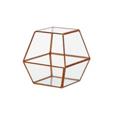 Geometric Terrariums - Geometric Terrarium Angled Top Pyramid Copper 15x14x16.5cmH