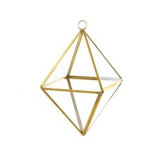 Geometric Glass Terrariums - Glass Geometric Terrarium Diamond Gold (17x12x9.5cmH)