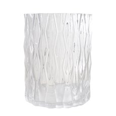 Glass Cylinder Vase Ripple Look Clear (15x20cmH)