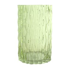 Glass Cylinder Vase Ripple Look Spanish Green (15x25cmH)