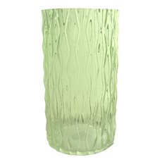Glass Cylinder Vase Ripple Look Spanish Green (15x30cmH)