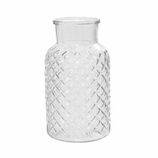 Recycled Style & Coloured Vases - Glass Ann Bottle Large Clear (14.5x25.5cmH)