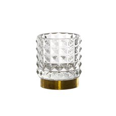 Recycled Style & Coloured Vases - Glass Edward Cylinder Vase Golden Base Clear (9.5x10.5cmH)