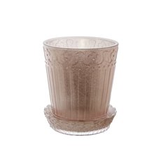 Recycled Style & Coloured Vases - Glass Grace Conical Pot with Plate Rose Gold (13x15cmH)