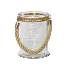 Recycled Style & Coloured Vases - Glass Aaron Jar with Jute Handle Clear (12.5x17cmH)