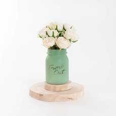 Mason Jars - Glass Mason Jar Fresh Cuts Posy Vase Sage Green (9.5Dx15cmH)