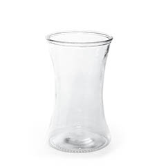 Recycled Style Glass Vases - Glass Country Vase Concaved Promo Clear (12.5DX20.5cmH)
