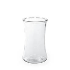Recycled Style Glass Vases - Glass Country Vase Concaved Sided Clear (10DX17cmH)