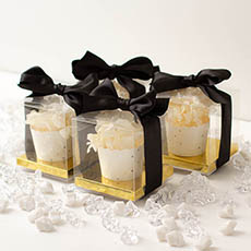 Cupcake Box Clear with Base 30mic Gold (90x90x90mm) Pack 10