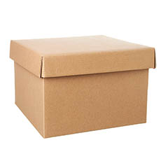 Gift Box and Lid - Gift Box with Lid Large Flat Pack Kraft Brown (22x14cmH)