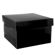 Gift Box and Lid - Gift Box with Lid Large Flat Pack Gloss Black (22x14cmH)