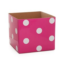 Polka Dots Gloss Mini Posy Box Hot Pink (13x12cmH)