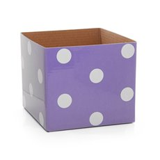 Polka Dots Gloss Mini Posy Box Lavender (13x12cmH)