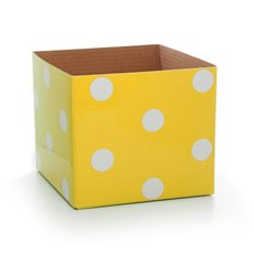 Polka Dots Gloss Mini Posy Box Lemon (13x12cmH)