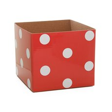 Polka Dots Gloss Mini Posy Box Red (13x12cmH)