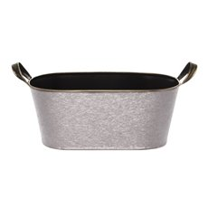 Tin Oval Hamper with Handles Silver (30x16x13cmH)