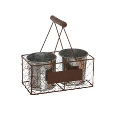 English Garden Wire Crate with 2 Buckets 25x12x10cmH Brown