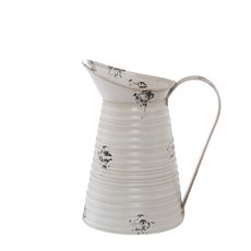 Tin Metal Watering Can & Jug - Tin Vintage Jug Vase Rustic White (12.5cmDx22cmH)