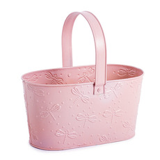 Tin Metal Deco Planters - Candy Metal Tote Baby Pink (23x11.9x12cmH)
