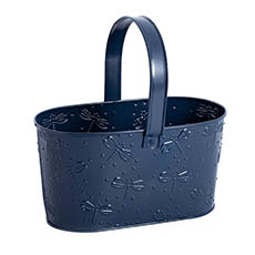 Tin Metal Deco Planters - Candy Metal Tote Navy Grey(23x11.9x12cmH)