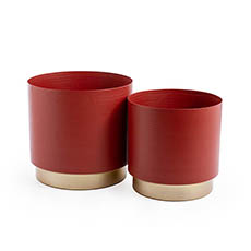Brass Finish Pot Planters - Volcano Metal Pot Set 2 Brass Gold (21x20cmH)
