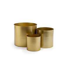 Brass Finish Pot Planters - Metal Pot Set 3 Brass Gold (18.5x16cmH)