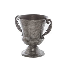 Metal Flute Vase with Handles Pewter Silver (15x20cmH)