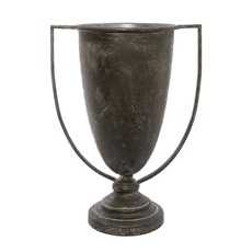 Metal Urn & Pedestal - Metal Tall Vase with Handle Pewter Silver (31.5x21.5x43cmH)