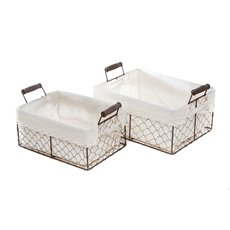 Lyons Basket Tray with Liner Rectangle Set of 2 (31x23x14cmH