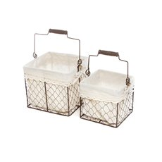 Lyons Basket with Liner Square Set of 2 (20x20x18cmH)