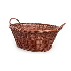 Storage Baskets & Boxes - Willow Laundry Basket Oval Dark Brown (48x34x22cmH)