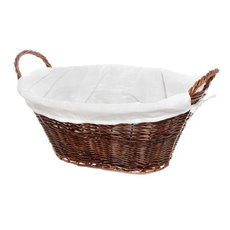 Storage Baskets & Boxes - Willow Laundry Basket Oval Fabric Liner Dk Brown (59x43x24cm