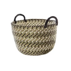 Palau Seagrass Basket Round Black & White (31Dx22cmH)