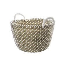 Palau Seagrass Basket Round White & Natural (31Dx22cmH)