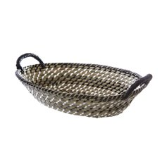 Hamper Tray & Gift Basket - Palau Seagrass Basket Oval Black & White (41x30x12cmH)