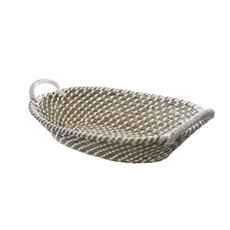 Palau Seagrass Basket Oval White & Natural (41x30x12cmH)