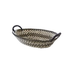 Palau Seagrass Basket Oval Black & White (37x27x11cmH)