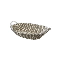 Palau Seagrass Basket Oval White & Natural (37x27x11cmH)