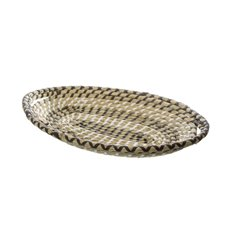 Palau Seagrass Basket Oval Flat Black & White (43x27x7cmH)