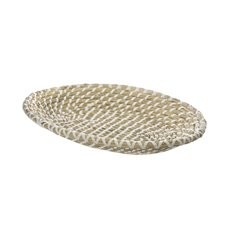 Hamper Tray & Gift Basket - Palau Seagrass Basket Oval Flat White & Natural (43x27x7cmH)