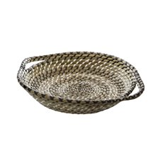 Palau Seagrass Basket Round Black & White (38Dx9cmH)