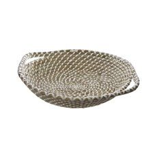 Hamper Tray & Gift Basket - Palau Seagrass Basket Round White & Natural (38Dx9cmH)
