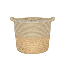 Flower Planter Pots - Phuket Woven Planter Beige & Natural (27Dx22cmH)